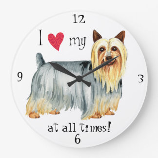 Grande Horloge Ronde J'aime mon Terrier soyeux