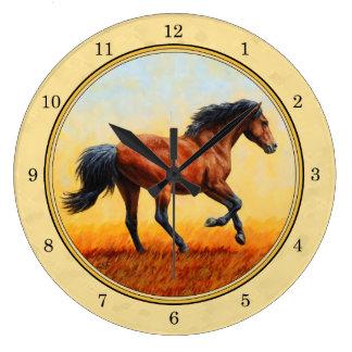 Grande Horloge Ronde Jaune courant de cheval de baie