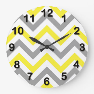 Grande Horloge Ronde Jaune, motif de zigzag blanc gris du DK grand