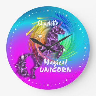 Grande Horloge Ronde Joli Imaginaire Rainbow Unicorn personnalisé