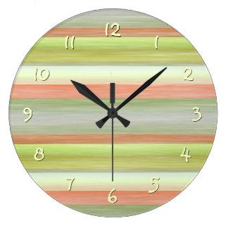 Grande Horloge Ronde Joli motif de rayures d'aquarelle d'amusement