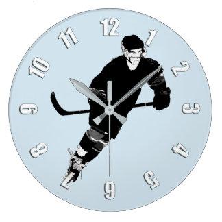 Grande Horloge Ronde Joueur de hockey de glace - sports d'hiver