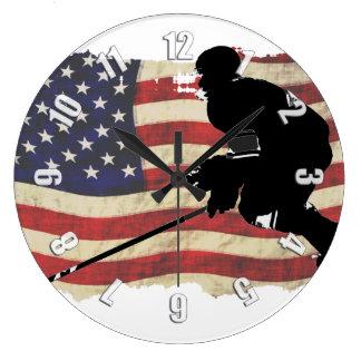 Grande Horloge Ronde Joueur de hockey et drapeau des USA - sports