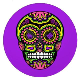 Grande Horloge Ronde Jour mexicain coloré de crâne de sucre des morts