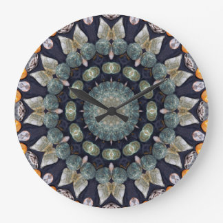 Grande Horloge Ronde Kaléidoscope abstrait de Brown