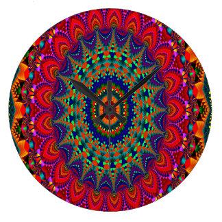 Grande Horloge Ronde Kaléidoscope coloré d'art abstrait