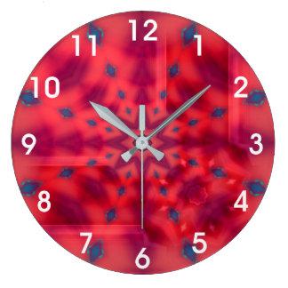 Grande Horloge Ronde Kaléidoscope rouge de mandala