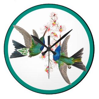 Grande Horloge Ronde La faune bleue d'oiseaux de colibri fleurit