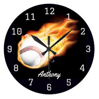 Grande Horloge Ronde La pièce du garçon de base-ball personnalisée