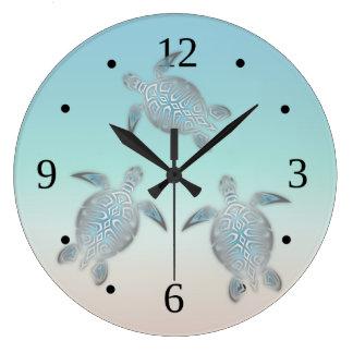 Grande Horloge Ronde La plage colore des tortues de gradient