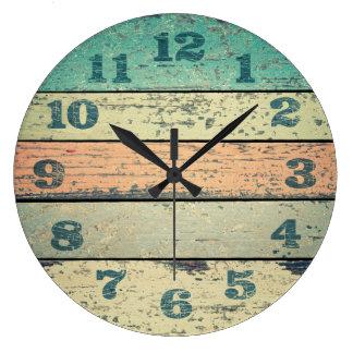 Grande Horloge Ronde La plage minable vintage embarque le bois