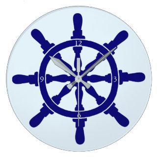 Grande Horloge Ronde La roue du bateau sur le bleu le plus léger