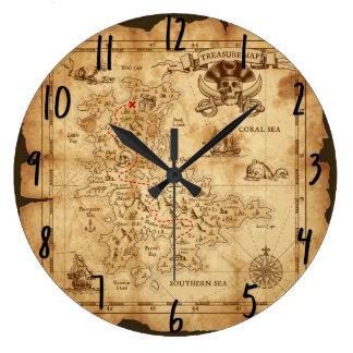 Grande Horloge Ronde La vieille carte vintage X de trésor de pirate