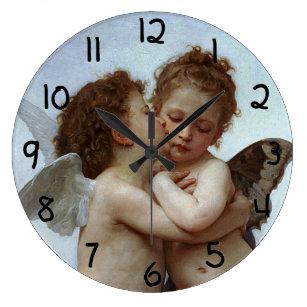 Grande Horloge Ronde L'Amour de Bouguereau et psyché, enfants (cupidon