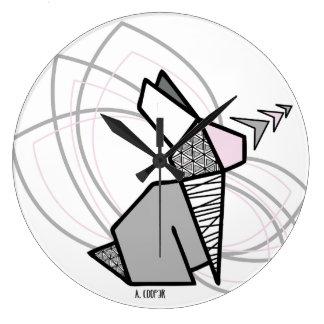 Grande Horloge Ronde Lapin origami