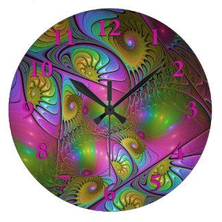Grande Horloge Ronde L'art abstrait moderne lumineux coloré de fractale