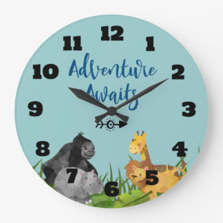 Grande Horloge Ronde L'aventure animale d'illustration de jungle de