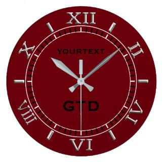 Grande Horloge Ronde Le cadran rouge de décor de Bourgogne