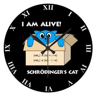 Grande Horloge Ronde Le chat de Schrodinger drôle est la mécanique