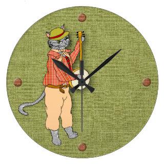 Grande Horloge Ronde Le chat musical de banjo garde le bon temps