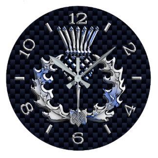 Grande Horloge Ronde Le chrome aiment le cadran bleu de chardon