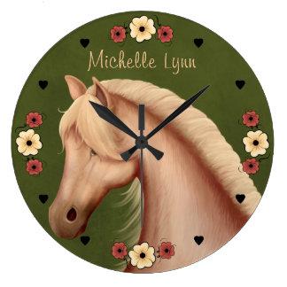 Grande Horloge Ronde Le joli poney personnalisé n de palomino fleurit