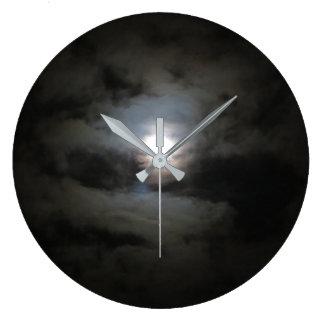Grande Horloge Ronde Le nuage a couvert l'horloge murale de lune