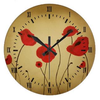 Grande Horloge Ronde Le pavot rouge fleurit des chiffres romains noirs
