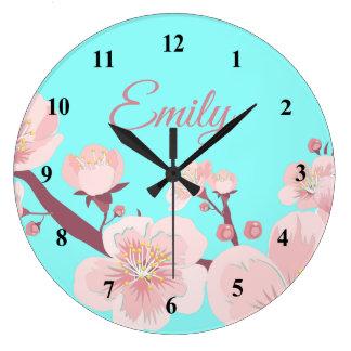 Grande Horloge Ronde Le pêcher rose fleurit nom floral de fleurs