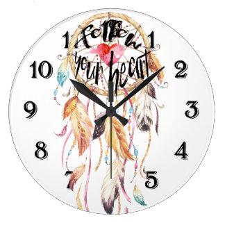 Grande Horloge Ronde Le receveur rêveur suivent votre coeur