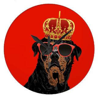 Grande Horloge Ronde Le Roi Rottweiler de la vie de voyou pour des