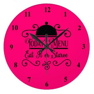 Grande Horloge Ronde Le rose et le noir le mangent ou meurent de faim