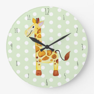 Grande Horloge Ronde Le safari unisexe mignon de girafe d'aquarelle