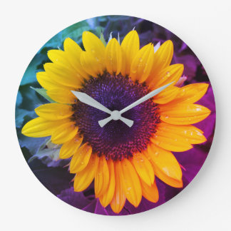 Grande Horloge Ronde Le tournesol coloré
