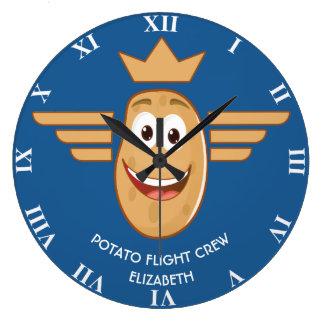 Grande Horloge Ronde L'équipage des aéronefs de pomme de terre s'envole