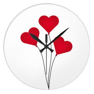 Grande Horloge Ronde Les ballons de coeur