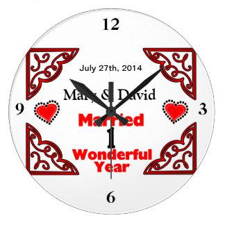 Grande Horloge Ronde Les noms noirs rouges de coeurs et datent