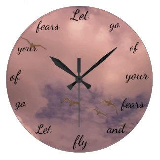 Grande Horloge Ronde Let vont de votre conception inspirée mignonne de