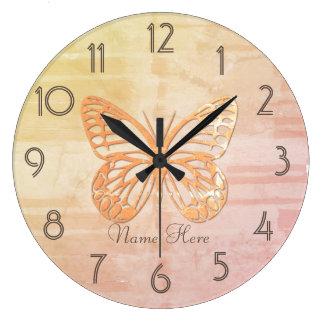 Grande Horloge Ronde L'heure mignonne de papillon de pastels ajoutent