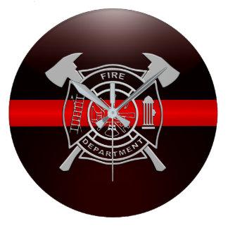 Grande Horloge Ronde Ligne rouge mince Chambre de caserne de pompiers