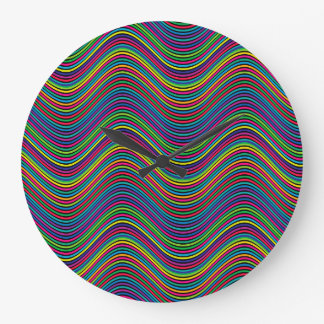 Grande Horloge Ronde Lignes onduleuses décoratives de couleur d'art