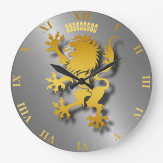 Grande Horloge Ronde Lion héraldique d'or avec l'horloge d'ombres