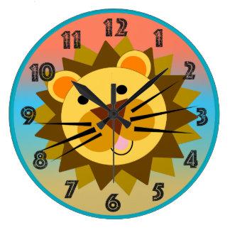 Grande Horloge Ronde Lion heureux le visage de sourire de lion