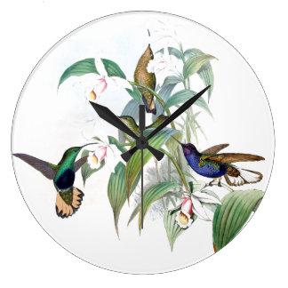 Grande Horloge Ronde L'orchidée d'oiseaux de colibri fleurit l'horloge