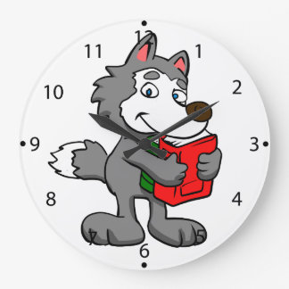 Grande Horloge Ronde Loup de bande dessinée tenant des livres
