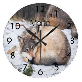 Grande Horloge Ronde Loups faits sur commande dormant sur la neige