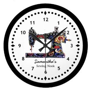 Grande Horloge Ronde Machine à coudre de tapisserie florale