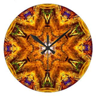 Grande Horloge Ronde Mandala coloré multi d'or
