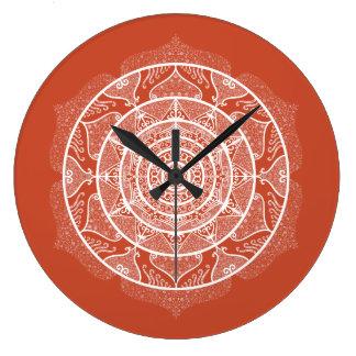 Grande Horloge Ronde Mandala de terre cuite
