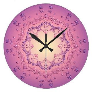 Grande Horloge Ronde Mandala. floral ethnique